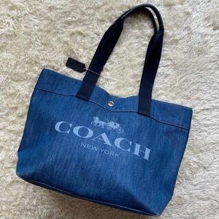 コーチ(COACH)の【レア!】COACH コーチ デニム インディゴ トートバック 花柄 総柄(トートバッグ)