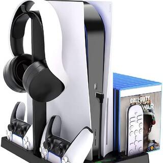 最新型PS5 縦置きスタンド 冷却ファン イヤホンサポート付き 冷却パッド