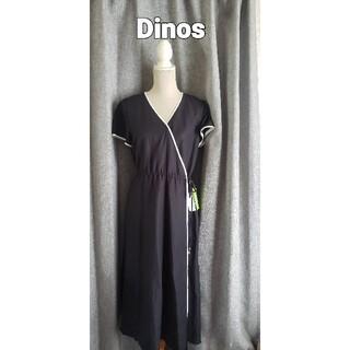 dinos - 新品タグ付き Dinos So CLOSE 麻混のワンピース 黒