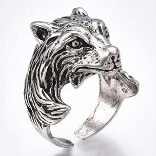 狼 モチーフ リング 指輪 メンズ フリーサイズ ウルフ 人気 トレンド