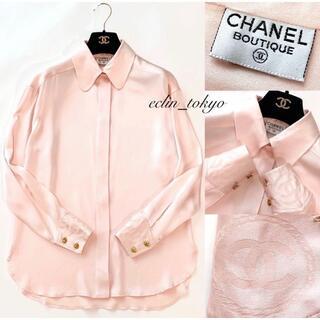 CHANEL - CHANEL vintage《ココマーク刺繍》シルク シャツ ブラウスE2388
