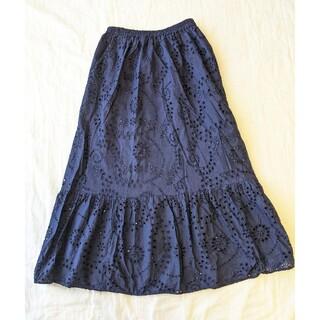 ジーユー(GU)のGU コットンレースティアードロングスカート Lサイズ(ロングスカート)