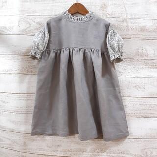 Caramel baby&child  - ハンドメイド商品☆[120]立ちフリル衿のふんわり袖ワンピーススリーピンクローズ