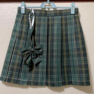 【新品82M】リボンつき なんちゃって制服スカート チェックスカート