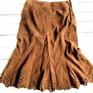 ケイタマルヤマ(KEITA MARUYAMA TOKYO PARIS)のKEITA MARUYAMA シープスエード マーメイドスカート ブラウン(ひざ丈スカート)