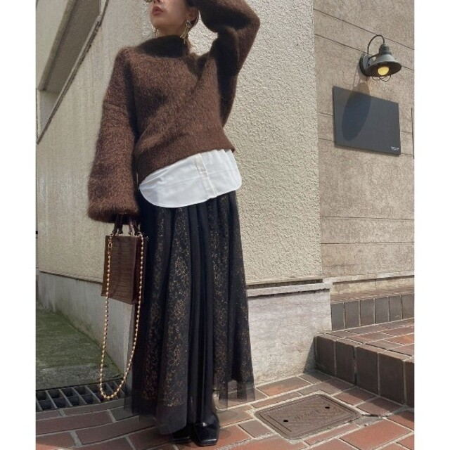 Ameri VINTAGE(アメリヴィンテージ)の【新品】 アメリヴィンテージ カーテンレースチュールスカート レディースのスカート(ロングスカート)の商品写真