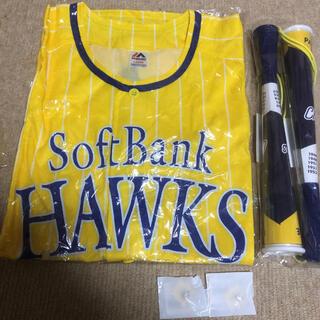 フクオカソフトバンクホークス(福岡ソフトバンクホークス)の2020鷹の祭典ユニフォームL+20リーグ優勝記念ツインメガホン+ピンバッジ2個(ウェア)