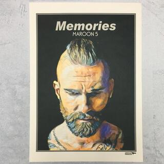 大型A3サイズ送料込ポップアート「Memories/マルーン5」グレー(アート/写真)