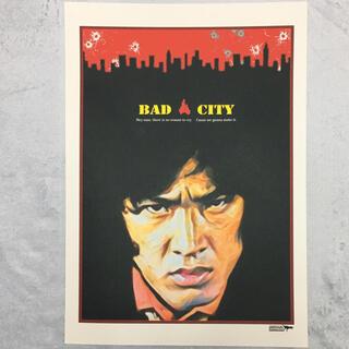 大型A3サイズ送料込ポップアート「BAD CITY」レッド(アート/写真)
