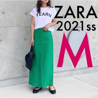 ZARA - ZARA ロング丈リネンスカート グリーンスカート