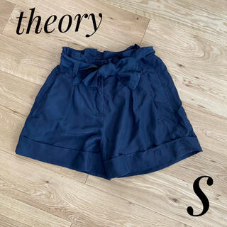 セオリー(theory)の【theory】ショートパンツ キュロット ネイビー シルク100% Sサイズ(ショートパンツ)