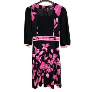 LEONARD - LEONARD レオナール 花柄 ワンピース ピンク×黒