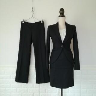 BUONA GIORNATA - ボナジョルナータ パンツスカートスーツセット 3点 S 7号相当 ストライプ黒
