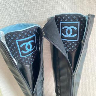 シャネル(CHANEL)の美品 Chanel レザー ハイニーブーツ スニーカーCCマーク 37.5(ブーツ)