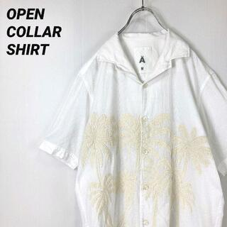 A - A エィス 半袖 オープンカラーシャツ ハワイアン アロハ キューバシャツ M白