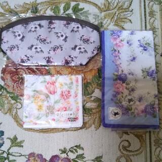 高島屋パーフェクトワンのオリジナルポーチ日本製花柄綿100%ハンカチ2枚未使用品