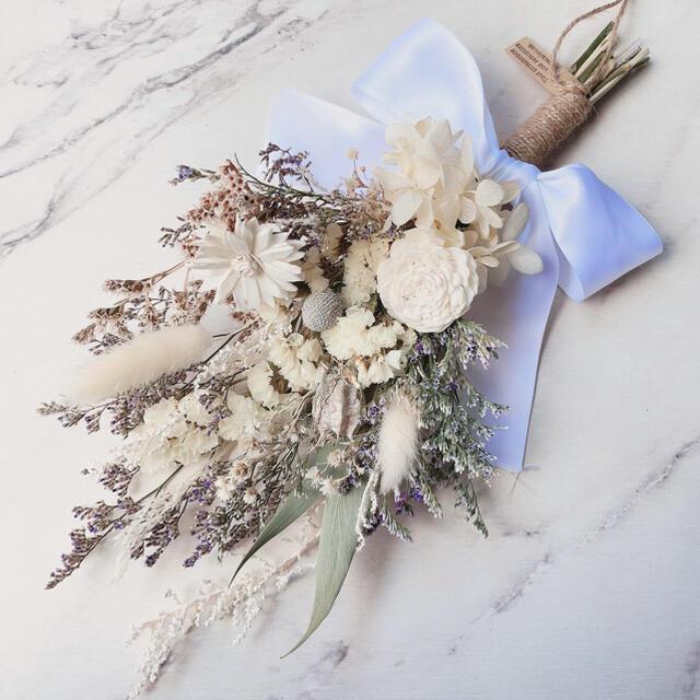 【限定1】ダリア×マーガレット small WHITE スワッグ ブーケ ハンドメイドのフラワー/ガーデン(ドライフラワー)の商品写真