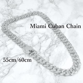 マイアミチェーンキューバンリンクネックレスメンズ55cm60cmシルバーN027