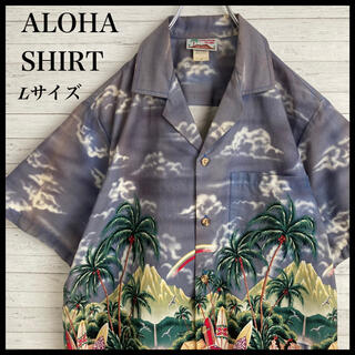 【激レア】アロハシャツ★ビックロゴ ハワイ製 フラガール柄 サーフボート柄