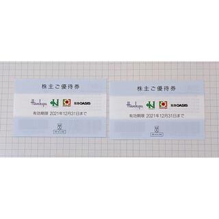 ハンキュウヒャッカテン(阪急百貨店)のH2O エイチ・ツー・オー・リティリング  株主優待 2枚セット(ショッピング)