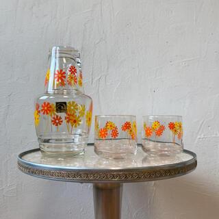 レトロ アデリア 冠水ビンとグラス