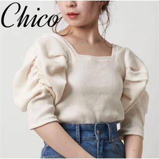 who's who Chico - 【春夏ニット♡】5分袖スクエアパワショルt chico チコ ホワイト