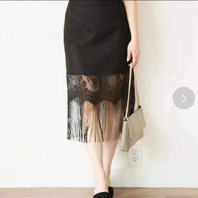 MERCURYDUO(マーキュリーデュオ)のレースフリンジスカート レディースのスカート(ひざ丈スカート)の商品写真