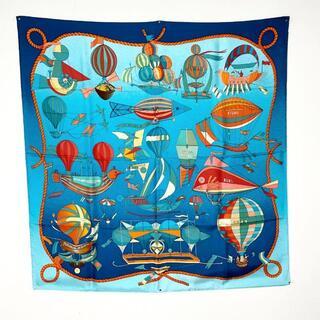 Hermes - 【超美品】エルメス スカーフ カレ90 シルク 気球 飛行船 ブルー Q38