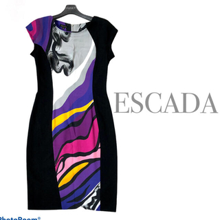 エスカーダ(ESCADA)の美品 ESCADA ひざ丈ワンピース タイトドレス  34(ひざ丈ワンピース)