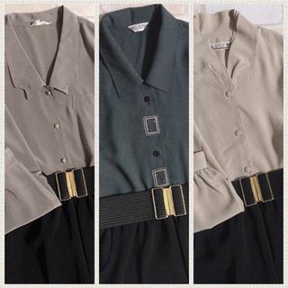 Lochie - グレーネイビー 四角刺繍 古着 レトロシャツ 半袖 下北沢 高円寺