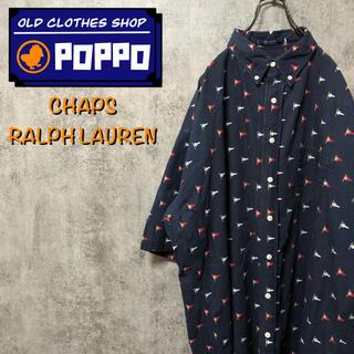 Ralph Lauren - チャップスラルフローレン☆フラッグロゴ柄半袖ビッグ総柄シャツ 90sわ