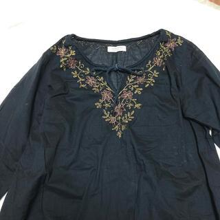FRAMeWORK - FRAMeWORK ゴールド刺繍 七分袖 コットン ブラウス ブラック/黒