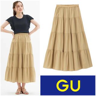 GU - 【美品】GU ティアードフレア ロングスカート ベージュ M