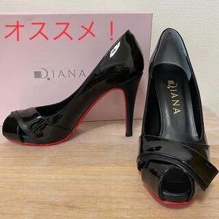 DIANA - 【大人気・美品】DIANAオープントゥパンプス 赤ソールエナメル黒 22.0㎝