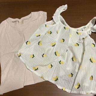 プティマイン(petit main)のプチマイン 100 チュニック レモン柄 Tシャツセット petitmain(Tシャツ/カットソー)