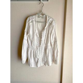 ホワイトブラウスシャツ