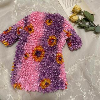 Lochie - vintageレトロ古着ピンク花柄ポップコーンtopsプリーツブラウス