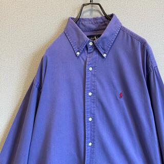 POLO RALPH LAUREN - 90s ラルフローレン ポニー刺繍 BDシャツ くすみパープル ゆるだぼ