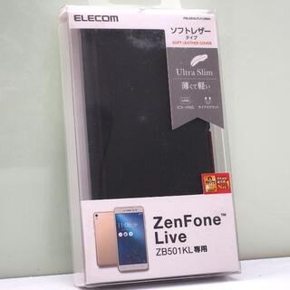 ZenFone Live (ZB501KL)用 薄型 手帳型ケース ブラック(Androidケース)