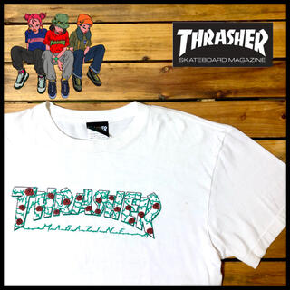 スラッシャー(THRASHER)の【大人気】フロントロゴ スラッシャー バラ 薔薇 THRASHER 白/L(Tシャツ/カットソー(半袖/袖なし))