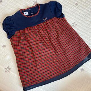 familiar - familiar☆ネイビー×ファミリアチェックTシャツ110