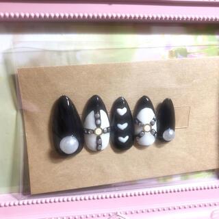 量産型♥ハート 黒で可愛さアップ♡(つけ爪/ネイルチップ)