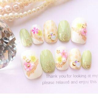 浴衣や振袖や色打掛に ◆きみどりとピンクの桜の和柄のネイルチップ◆25(つけ爪/ネイルチップ)