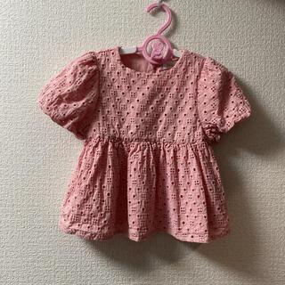 ZARA KIDS - ☆美品☆ zara baby トップ 刺繍入りブラウス ピンク 86cm