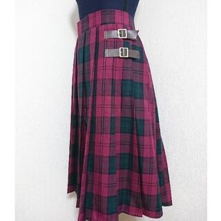 チェック柄  プリーツスカート 大きいサイズ
