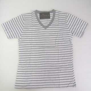 【新品】ボーダー V字 半袖 Tシャツ グレー L (T04)
