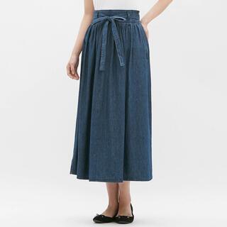 ジーユー(GU)のGU★デニムのロングスカート(腰リボン)、Sサイズ(ロングスカート)