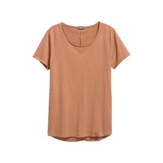 H&M - H&M DIVIDED LONG FIT Mロング丈ローエッジTシャツ キャメル