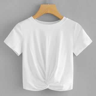 ザラ(ZARA)のSHEIN クロップド Tシャツ ホワイト(Tシャツ(半袖/袖なし))