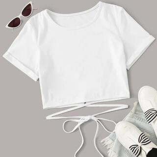 ザラ(ZARA)のSHEIN ウエストリボン クロップド Tシャツ ホワイト(Tシャツ(半袖/袖なし))